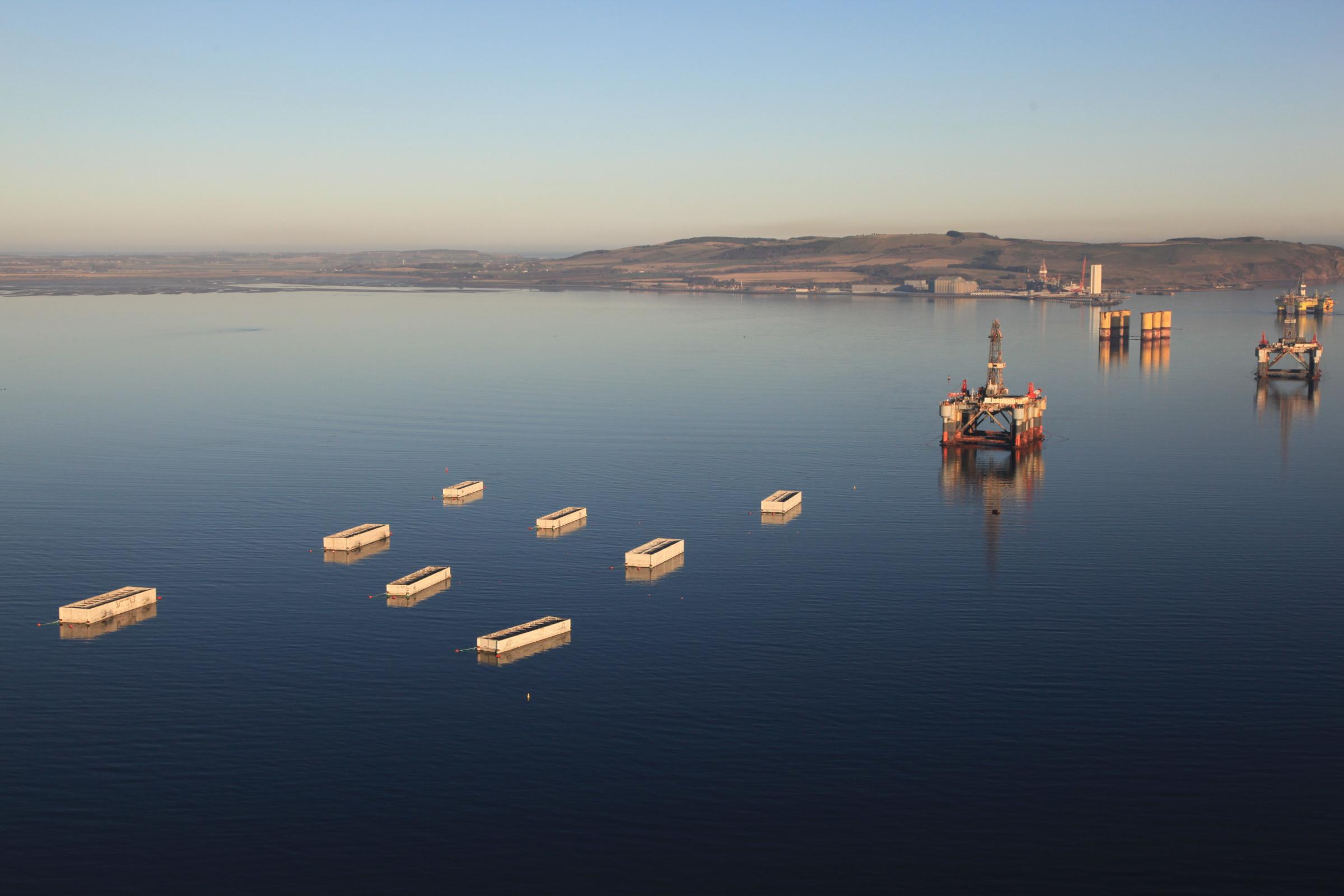 The caissons were towed up the Cromarty Firth from Spain