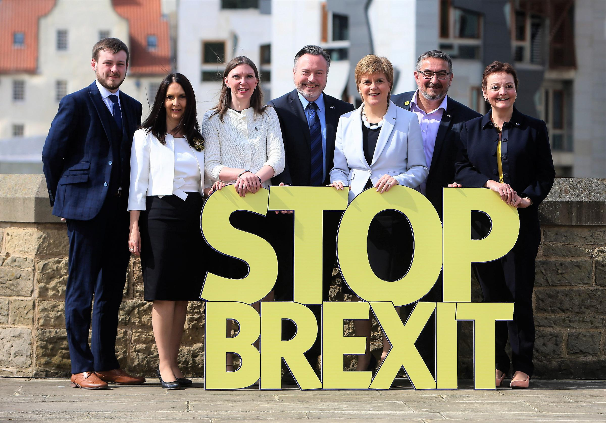 SNP leader Nicola Sturgeon with, from left, European Parliament candidates Alex Kerr, Margaret Ferrier, Aileen McLeod, Alyn Smith, Christian allard and Heather Anderson. Photograph; Gordon Terris