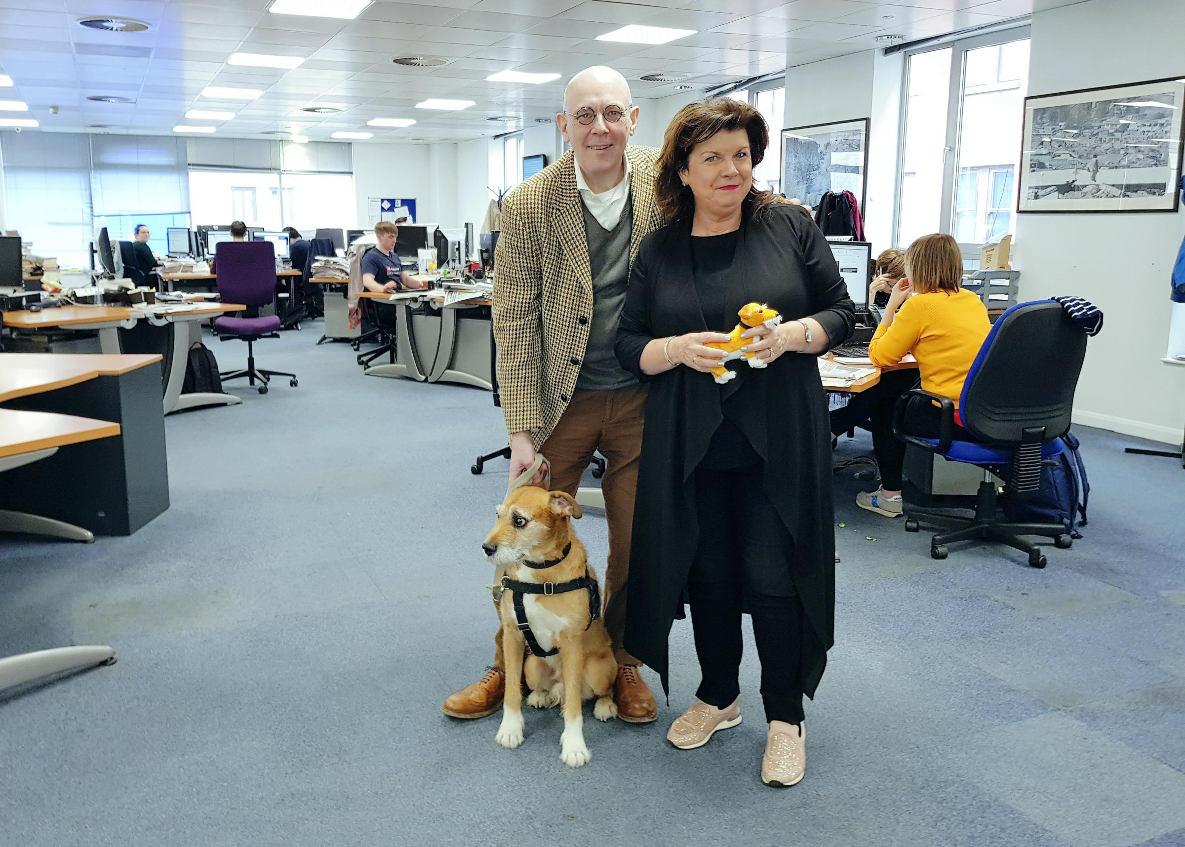 The Wee Ginger Dug (and human Paul Kavanagh) with Elaine C Smith in The National's office. Photograph: Damian Shields