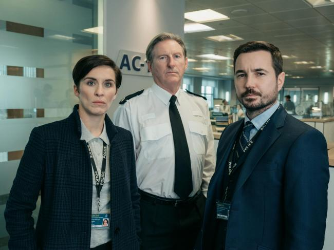 From left: Vicky McClure, Adrian Dunbar and Martin Compston in Line Of Duty. Photographer: Aiden Monaghan