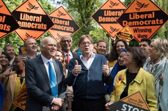 EU Brexit co-ordinator Guy Verhofstadt joined LibDem leader Sir Vince Cable for election campaigning in London