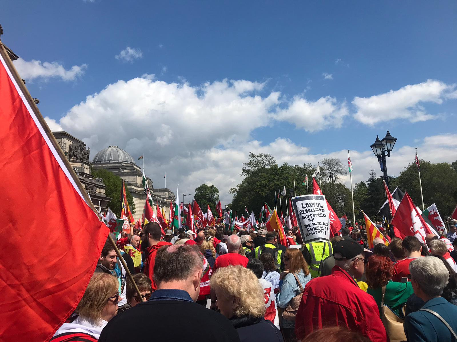 Between 1000 and 3000 people turned out for a march in Cardiff yesterday