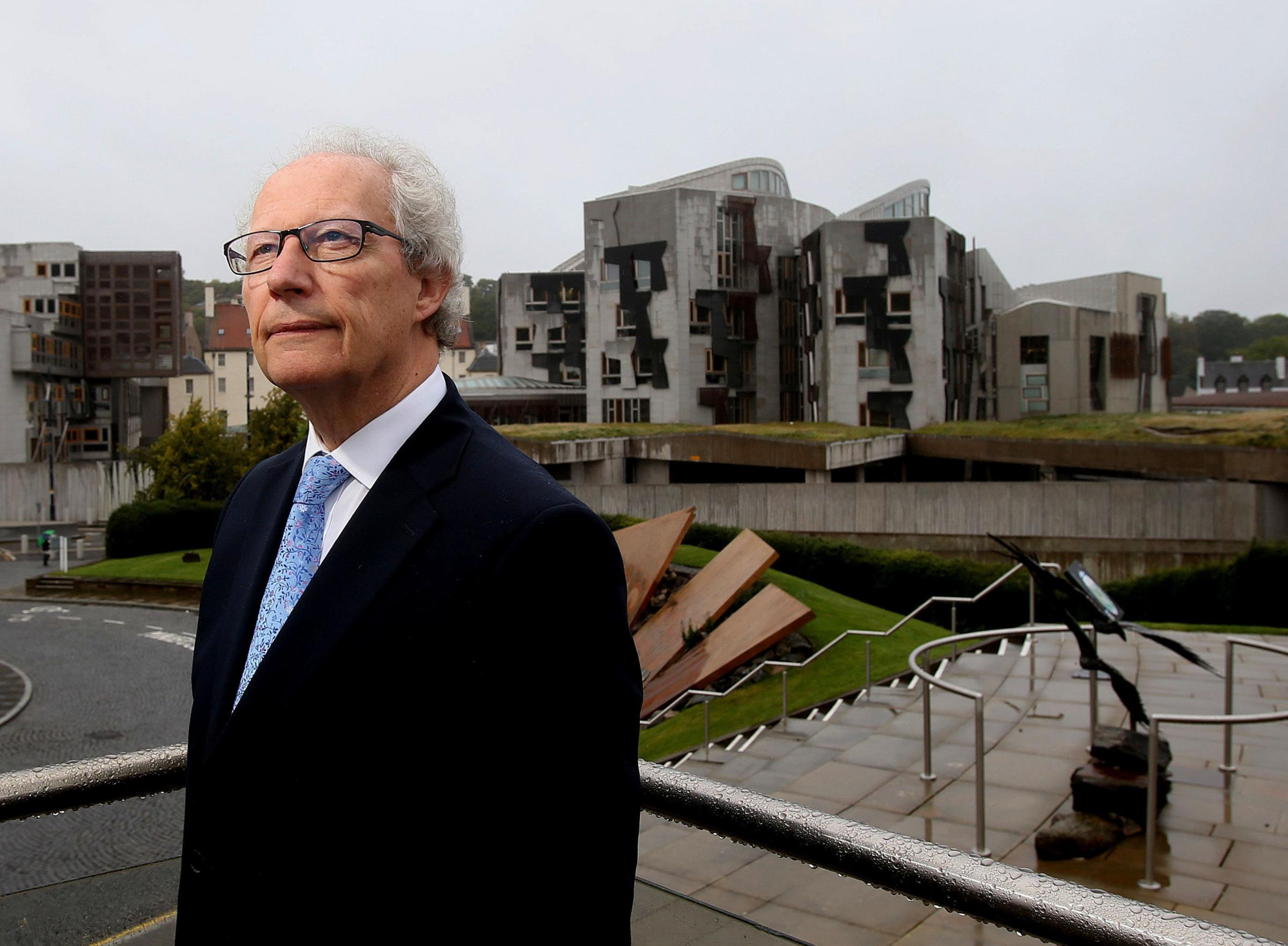 Former first minister Henry McLeish poke on the anniversary of the reconvening of the Scottish Parliament. Photograph: Gordon Terris
