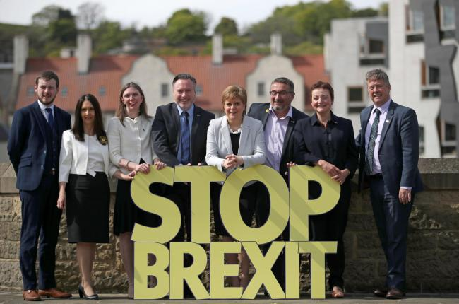 Nicola Sturgeon and Keith Brown with the SNP MEP hopefuls