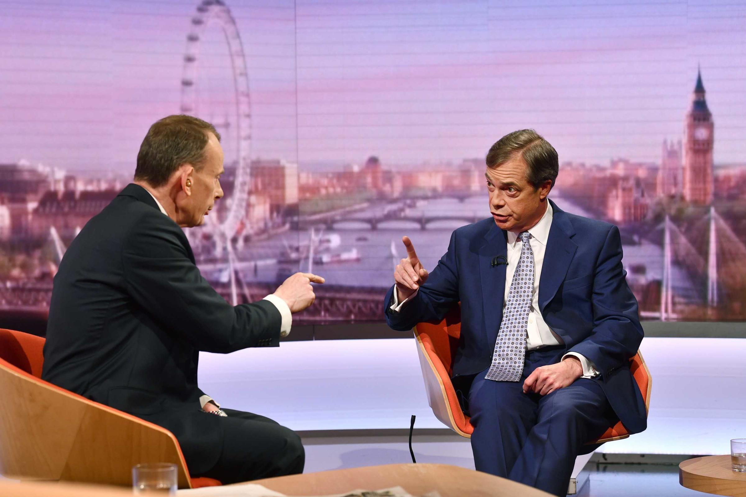 Nigel Farage appears on The Andrew Marr Show