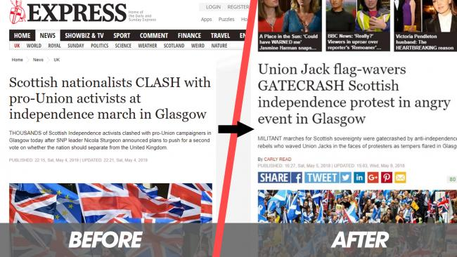 Watchdog receives 200 complaints over Express indy march headline