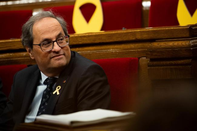 Catalan President Quim Torra has appeared in court charged with disobeying a Central Electoral Board