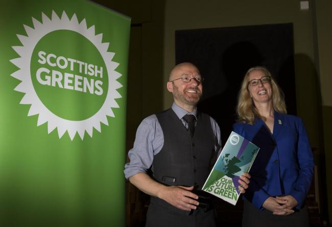 Scottish Greens co-convener Patrick Harvie and European Parliament candidate Lorna Slater, who gained spontaneous applause on BBC Scotland's Debate Night programme