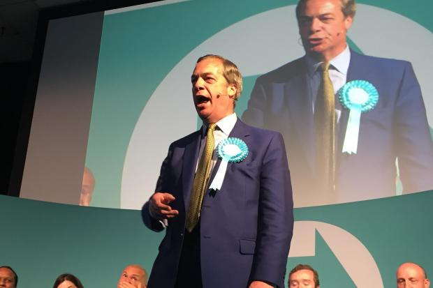 The National: Brexit Party leader Nigel Farage speaks at the Corn Exchange, Edinburgh