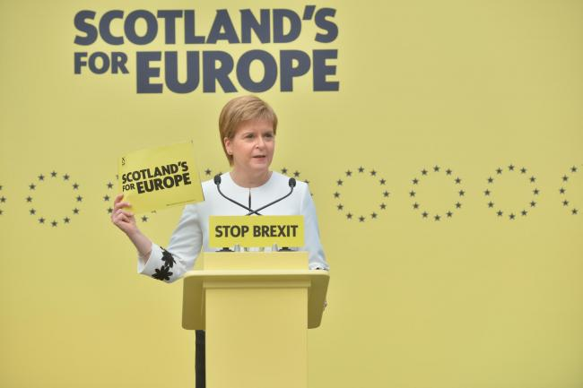 First Minister Nicola Sturgeon has stressed her party's opposition to Brexit in the run-up to the campaign