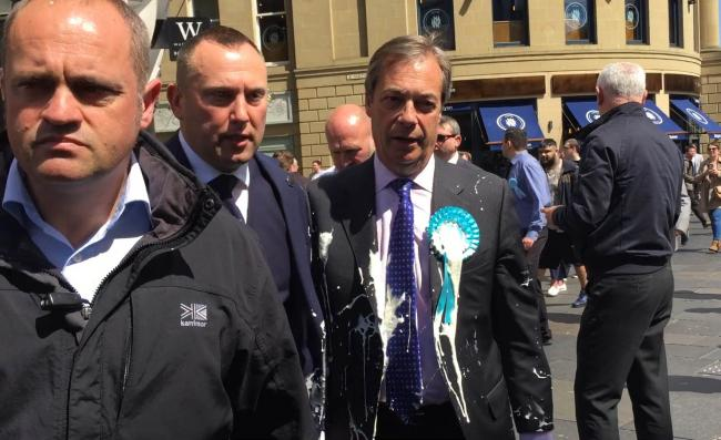 Nigel Farage was 'milkshaked' during a campaign walkabout in Newcastle
