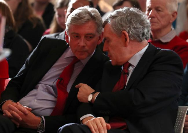 Gordon Brown joined Scottish Labour leader Richard Leonard to promote the party's European election campaign