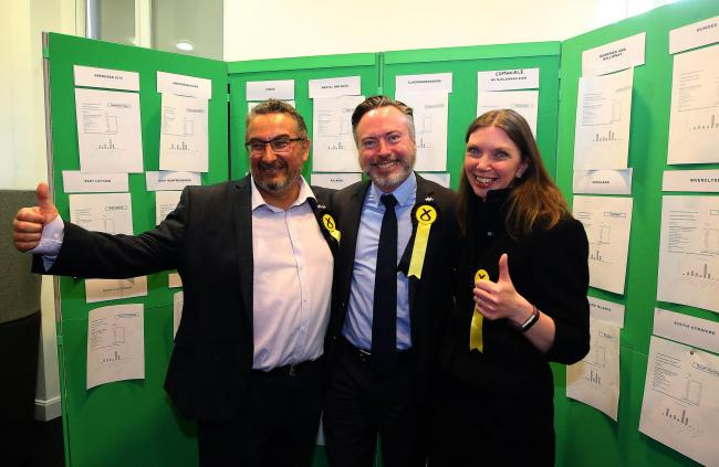 From left: The SNP's Christian Allard, Alyn Smith and Aileen McLeod celebrated their election as MEPs