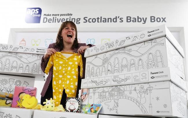 Children's Minister Maree Todd wi the Baby Box
