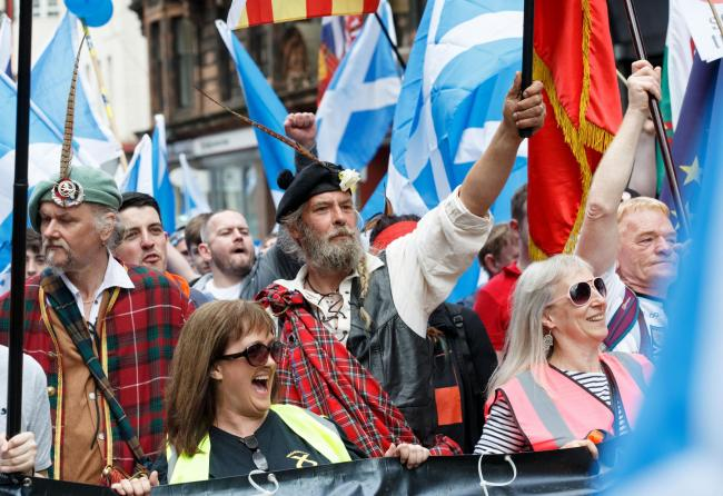 The fun-driven, carnivalesque use of Scots symbols at All Under One Banner marches is often misrecognised as restorative nostalgia