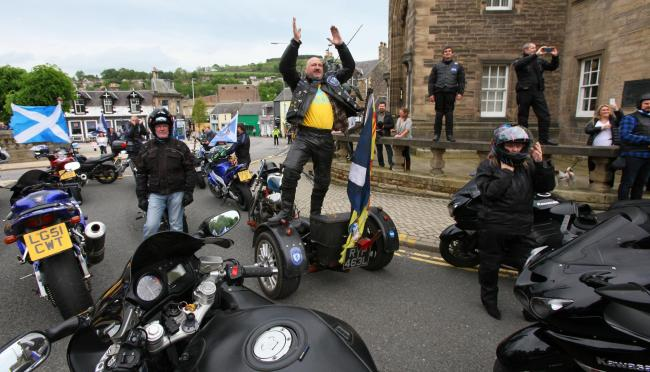 At least seven bikes suffered punctures but all but one of the group made it to the march. Photograph: Colin Mearns