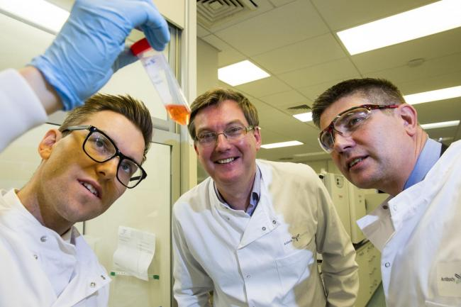 From left: Simon Hamilton and Scott Webb of UKSE, and Andrew Baron from Antibody Analytics