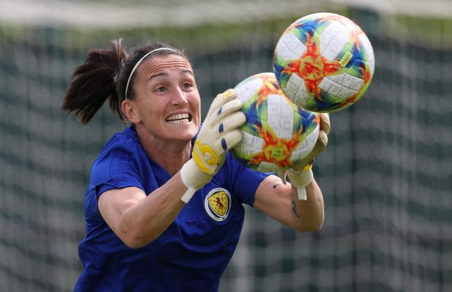 Scotland goalkeeper Shannon Lynn during the training session at Oriam, Edinburgh. Photo: Andrew Milligan.