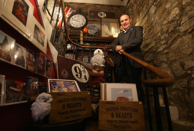 Andrew McRae at his Museum Context store in Edinburgh's Victoria Street, which sells Harry Potter merchandise