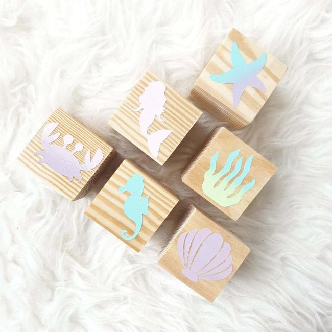 Mermaid building blocks by Crafted Pine Co of Dundee, £20