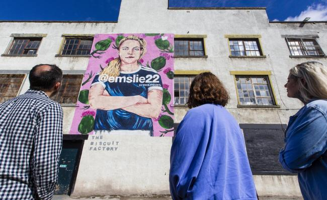 A mural of Claire Emslie by artist Ella Masters
