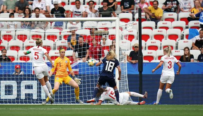 Scotland's Claire Emslie (centre) scores her side's first goal of the game with team mates during the FIFA Women's World Cup, Group D match at the Stade de Nice. PRESS ASSOCIATION Photo. Picture date: Sunday June 9, 2019. See PA story SOCCER
