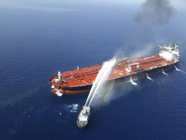The tanker was ablaze and adrift following an explosion.
